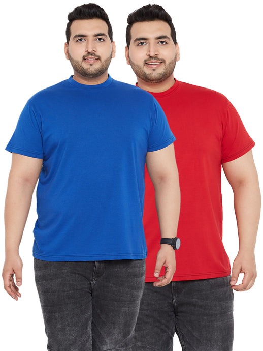 bigbanana Royal Blue and Red Round Neck Tshirt (Pack of 2)