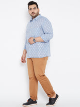 plus size Long Sleeves Casual Shirt in Blue Dobby Texture