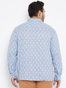 SAM Casual Shirt in Blue Dobby Texture