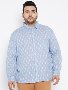 Long Sleeves SAM Casual Shirt in Blue Dobby Texture
