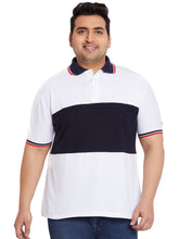 bigbanana Shane White Colorblocked Plus Size Polo T-Shirt