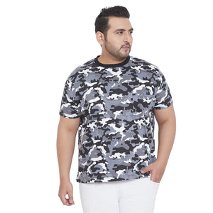 bigbanana Silas Grey Camouflage Printed Plus Size Round Neck T-shirt