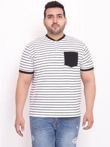 bigbanana Sol Henley white striped  with contrast pocket