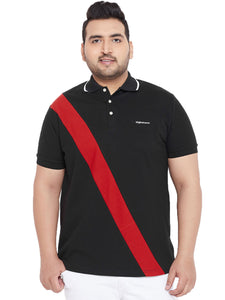 bigbanana Surrey Black Colourblocked Plus Size Polo Collar T-shirt