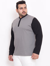 bigbanana Terence Henley Grey Color With Contrast Placket and Sleeves - Bigbanana