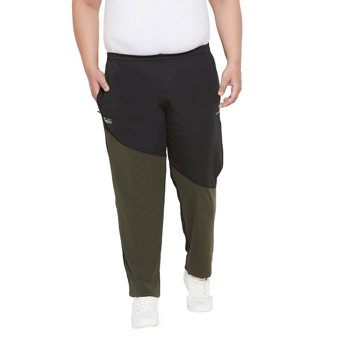 bigbanana Tetra Black Olive Green Colourblocked Antimicrobial Track Pants