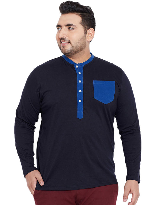 bigbanana Thomson Navy Blue Solid Henley Neck T-shirt