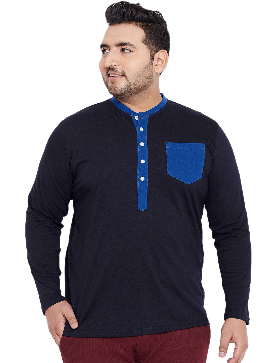 bigbanana Thomson Navy Blue Solid Plus Size Henley Neck T-shirt
