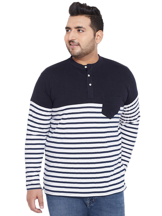 bigbanana Tito White & Black Striped Henley Neck T-shirt