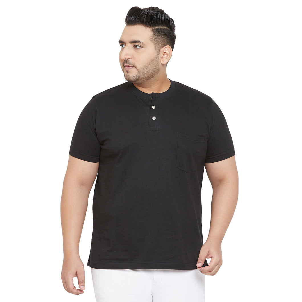 bigbanana Tonk Black Solid Henley Collar T-shirt