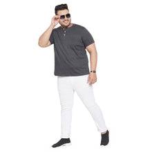 bigbanana Tonk Grey Solid Henley Collar T-shirt