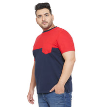 bigbanana Track Navy Blue and Maroon Colorblocked Round Plus Size Neck T-shirt