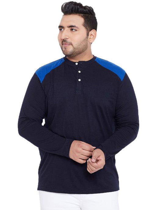 bigbanana Travis Navy Blue Solid Plus Size Henley Neck T-shirt