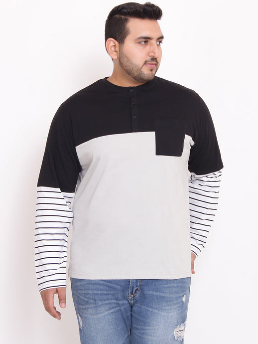 bigbanana Trio black and Silver colorblocked henley