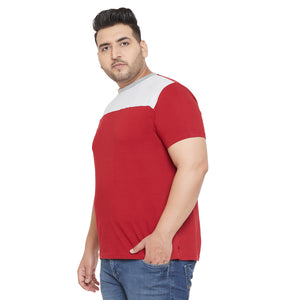 bigbanana Troop Grey and Maroon Colorblocked Round Plus Size Neck T-shirt