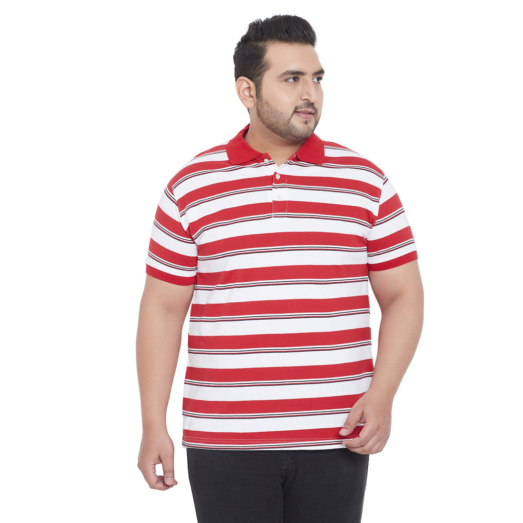 bigbanana Tucker White & Red Striped Plus Size Polo Collar T-shirt