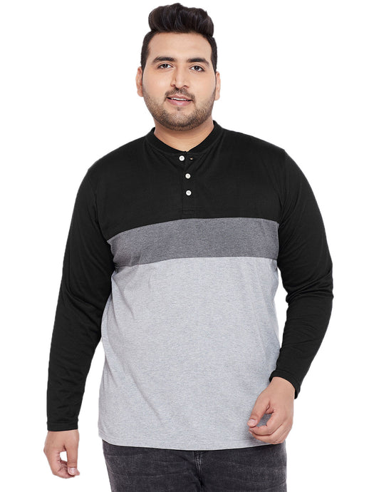 bigbanana Tyler Grey & Black Colourblocked Henley Neck T-shirt