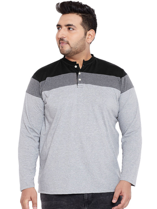 bigbanana Vagos Grey Colourblocked Henley Neck T-shirt