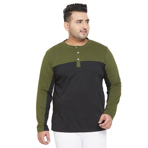 bigbanana Vinsen Olive and Black Colorblock Henley Neck T-shirt