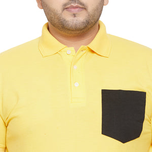 bigbanana Voila Yellow and Black Plus Size Colorblocked Polo T-Shirt