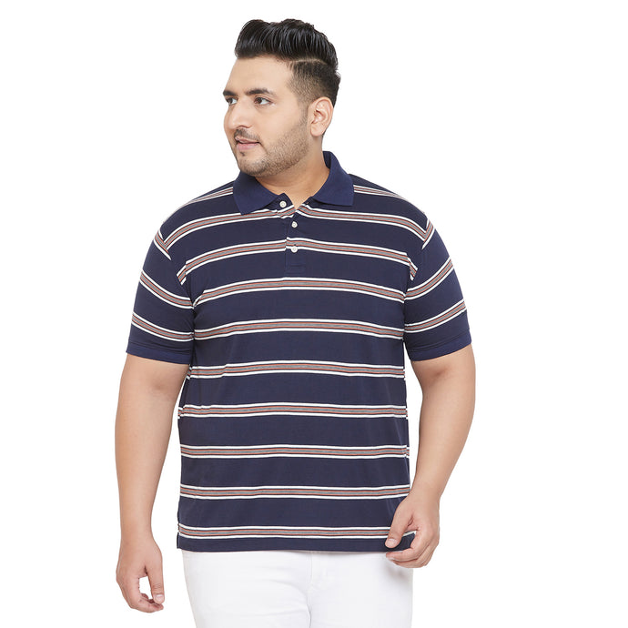 bigbanana Wagon Navy Blue and White Striped Polo Collar Bio Finish T-shirt