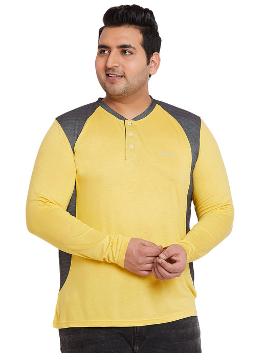 bigbanana Walsh Yellow & Grey Colourblocked Henley Neck T-shirt