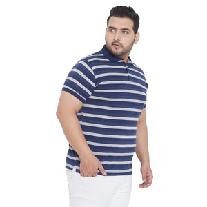 bigbanana Waylon Blue Striped Plus Size Polo Collar T-shirt