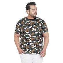 bigbanana Weston Olive Green Camouflage Printed Plus Size Round Neck T-shirt