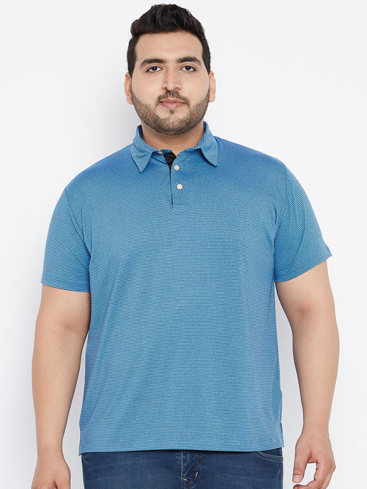 bigbanana Wix Polo Tshirts in Blue Pinstripes - Bigbanana