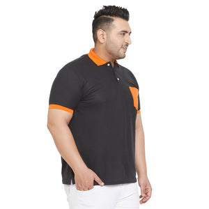 bigbanana Wok Black and Orange Plus Size Colorblocked Polo T-Shirt