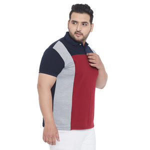 bigbanana Xamp Multicolor Plus Size Colorblocked Polo T-Shirt