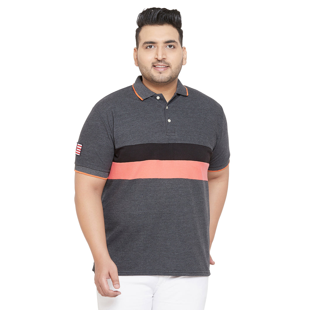 bigbanana Yera Multicolor Plus Size Colorblocked Polo T-Shirt