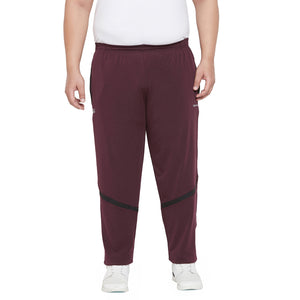 bigbanana Yettey Maroon & Black Colourblocked Antimicrobial Track Pants