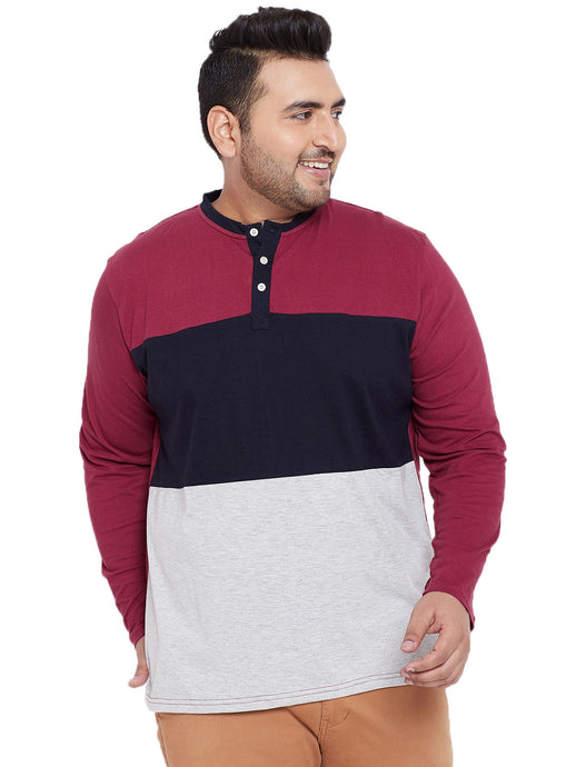 bigbanana Zake Multicoloured Colourblocked Henley Neck T-shirt