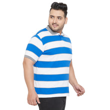 bigbanana Zave Sky Blue and White Plus Size Colorblocked Polo T-Shirt