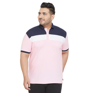 bigbanana Zen Multicolor Plus Size Colorblocked Polo T-Shirt
