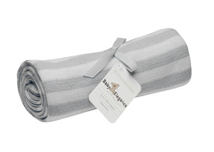 Grey & White Striped Pearl Knitted Baby Blanket-Baby Elegance