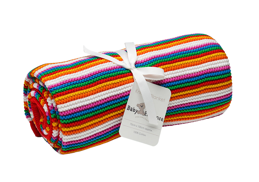 Multi Coloured Striped Pearl Knitted Baby Blanket-Baby Elegance