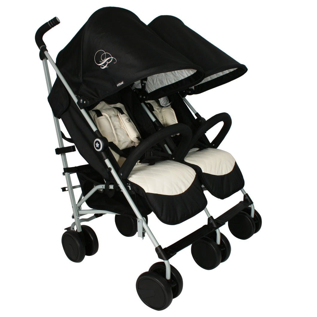 My Babiie Billie Faiers MB22 Twin Stroller - Black and Cream