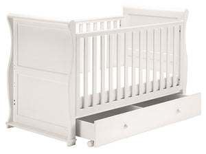 East Coast Nursery Alaska Sleigh Cot Bed with Drawer, White