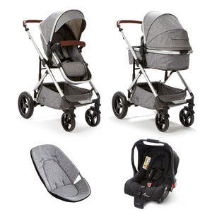 Baby Elegance Cupla Duo Single Travel System inc. 2 in 1 Pushchair, Car seat & Rain Cover - Grey