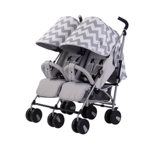 My Babiie Billie Faiers MB22 Twin Stroller -  Grey Chevron