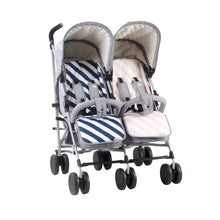 My Babiie Billie Faiers MB22 Twin Stroller -Grey Melange with reversible seat liners
