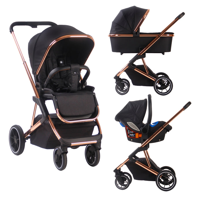 Your Babiie (MB500) Belgravia Rose Gold Black Travel System