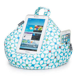 geometric print bean bag iPad and mobile phone cushion stand