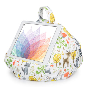 woodland scene print bean bag tablet holder