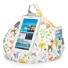 Load image into Gallery viewer, woodland scene fabric bean bag iPad and phone holder