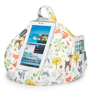 woodland scene fabric bean bag iPad and phone holder