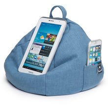 Load image into Gallery viewer, iPad, Tablet & eReader Bean Bag Cushion by iBeani - Denim Blue