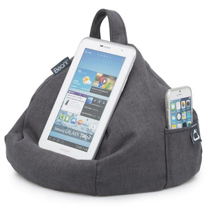 grey bean bag tablet and mobile phone holder